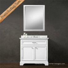 Solid Wood Free Standing Matt White Finishing Bathroom Cabinet